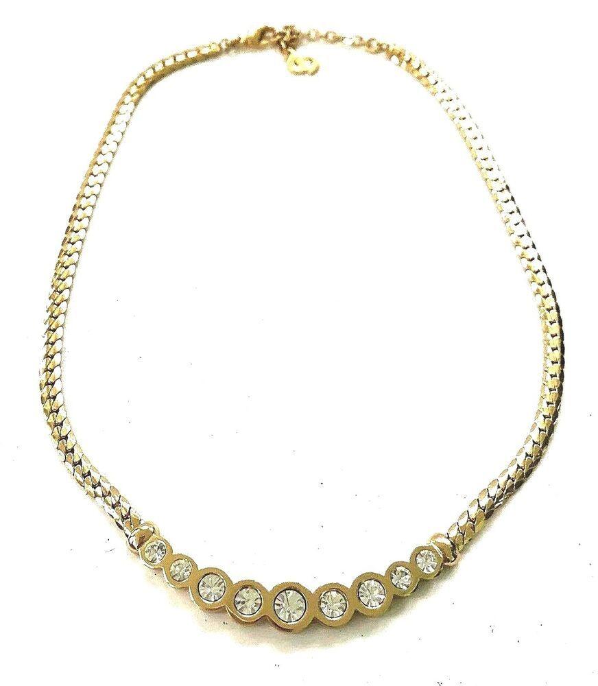 22e4166356b3b NWOT Christian Dior Paris Gold Bezel Set Crystal Necklace Ooh La La ...