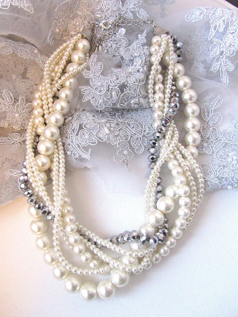 bridesmaids jewelry set, Twisted braided pearl necklace
