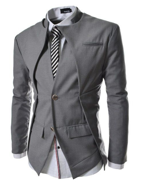 Fancy - Mens Slim Fit Double Collar 2 Button Blazer Jacket 4fec35222ca7c