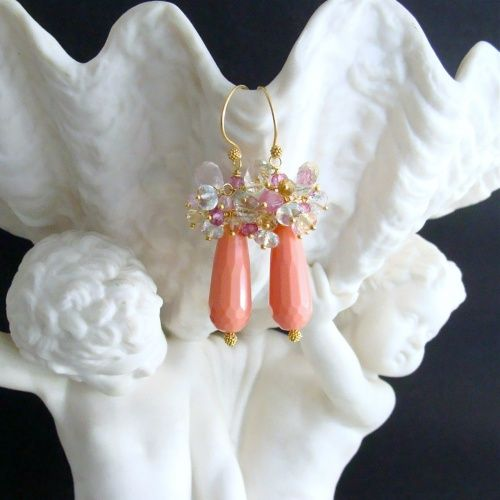 Coral Jade, Prehnite, Sapphire, Topaz, Rose Quartz, Citrine & Scapolite Cluster Earrings - Jocelyn Earrings.  Inspired by the gorgeous Spring colors of Nature!