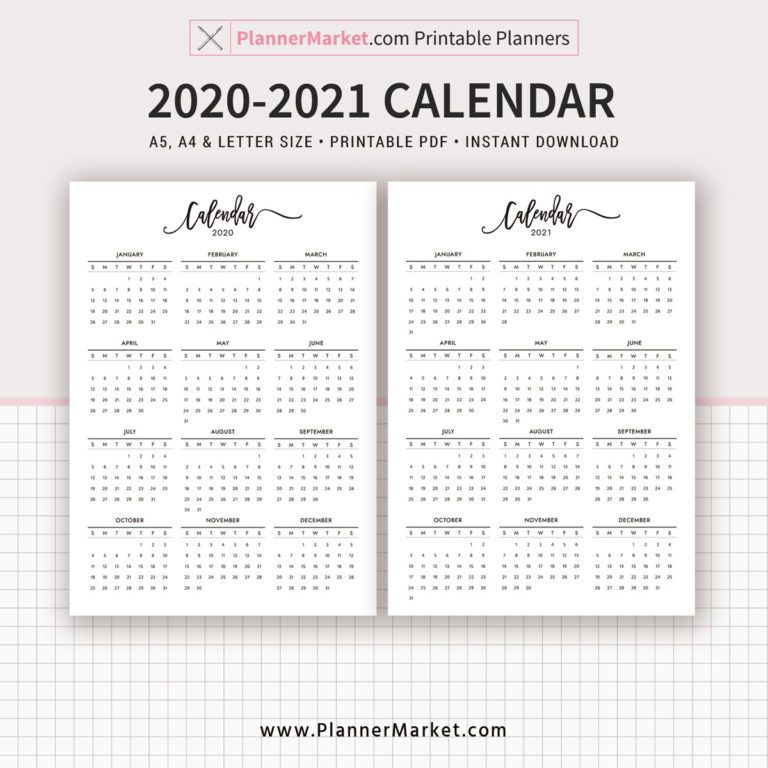 2020 2021 Calendar Printable Year At A Glance Filofax A5 A4 Letter Size Planner Template Planner Inserts Planner Refills Instant Download Calendar Printables Planner Inserts Printable Planner Template