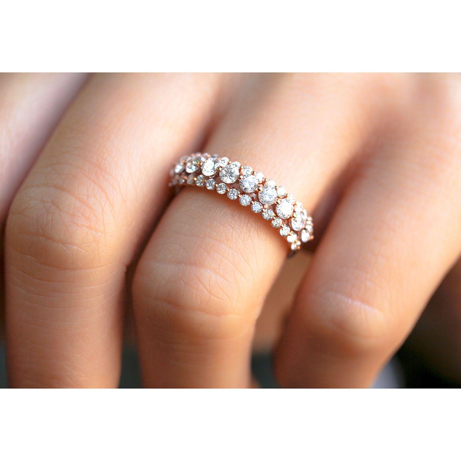 Three Row Diamond Band 10k Rose Gold 1 Ctw Rose Engagement Ring Womens Wedding Bands Diamond Diamond Wedding Bands