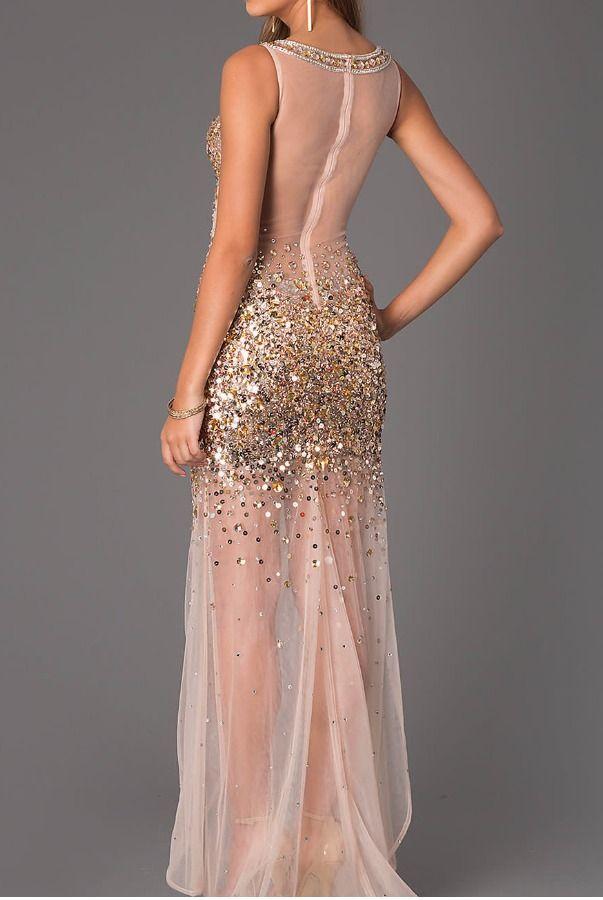 2190de1c285b Jovani 21738 Sheer Gold Sequin Beaded Gown Prom Dress   Cav Ball ...