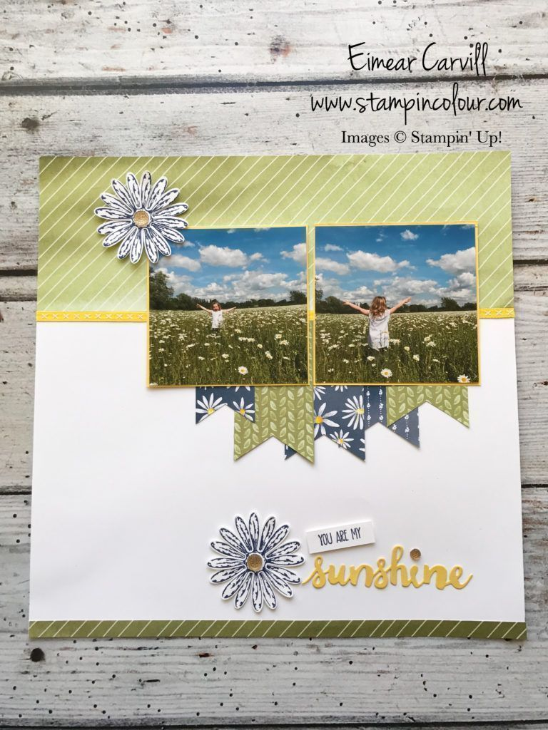 Eimear Carvill www.stampincolour.com Monday Memories and More - Delightful Daisy Scrapbook page #scrapbookideas #scrapbooking101