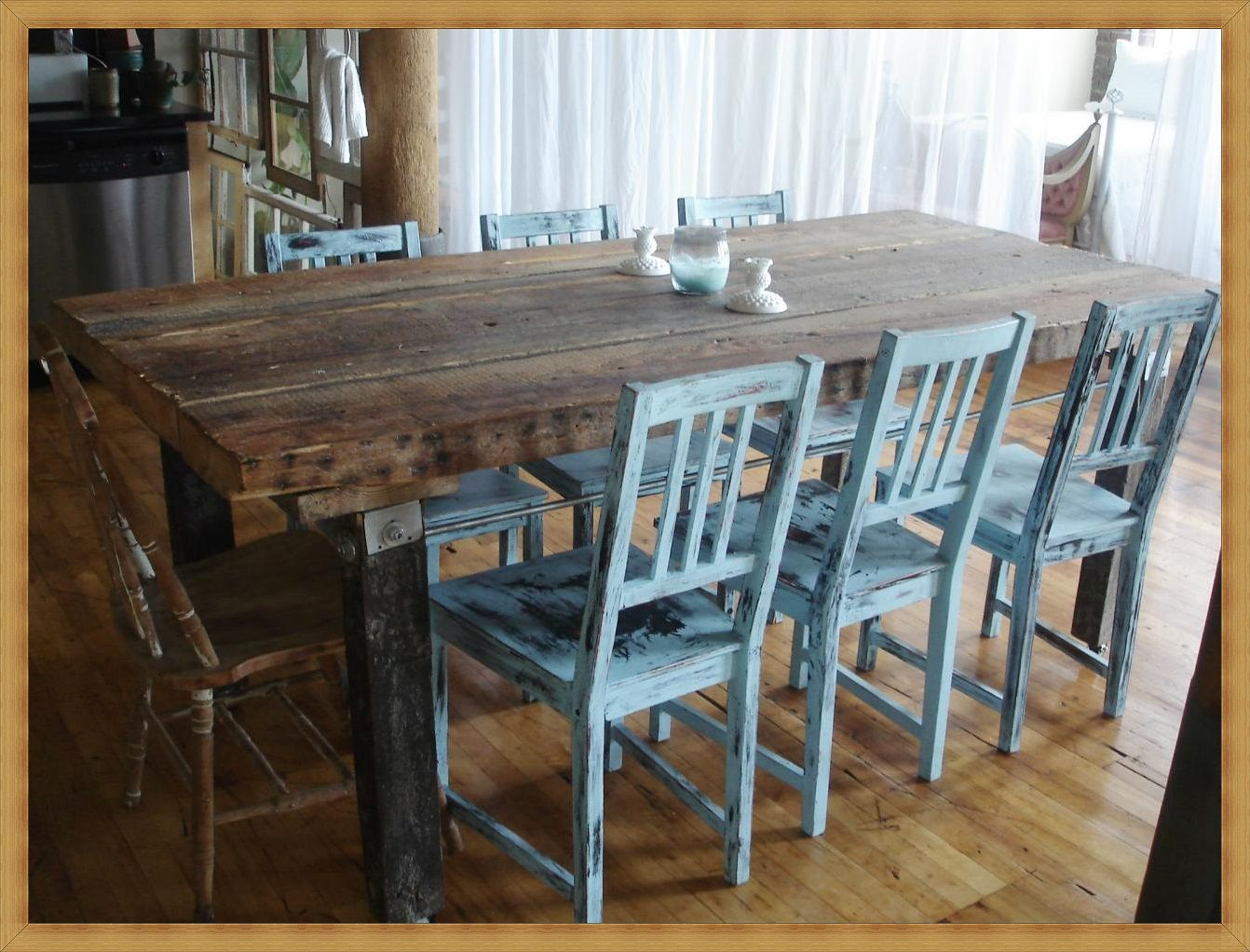 Kitchen and Table Chair Rustic Chic Dining Table Large Kitchen Table ...