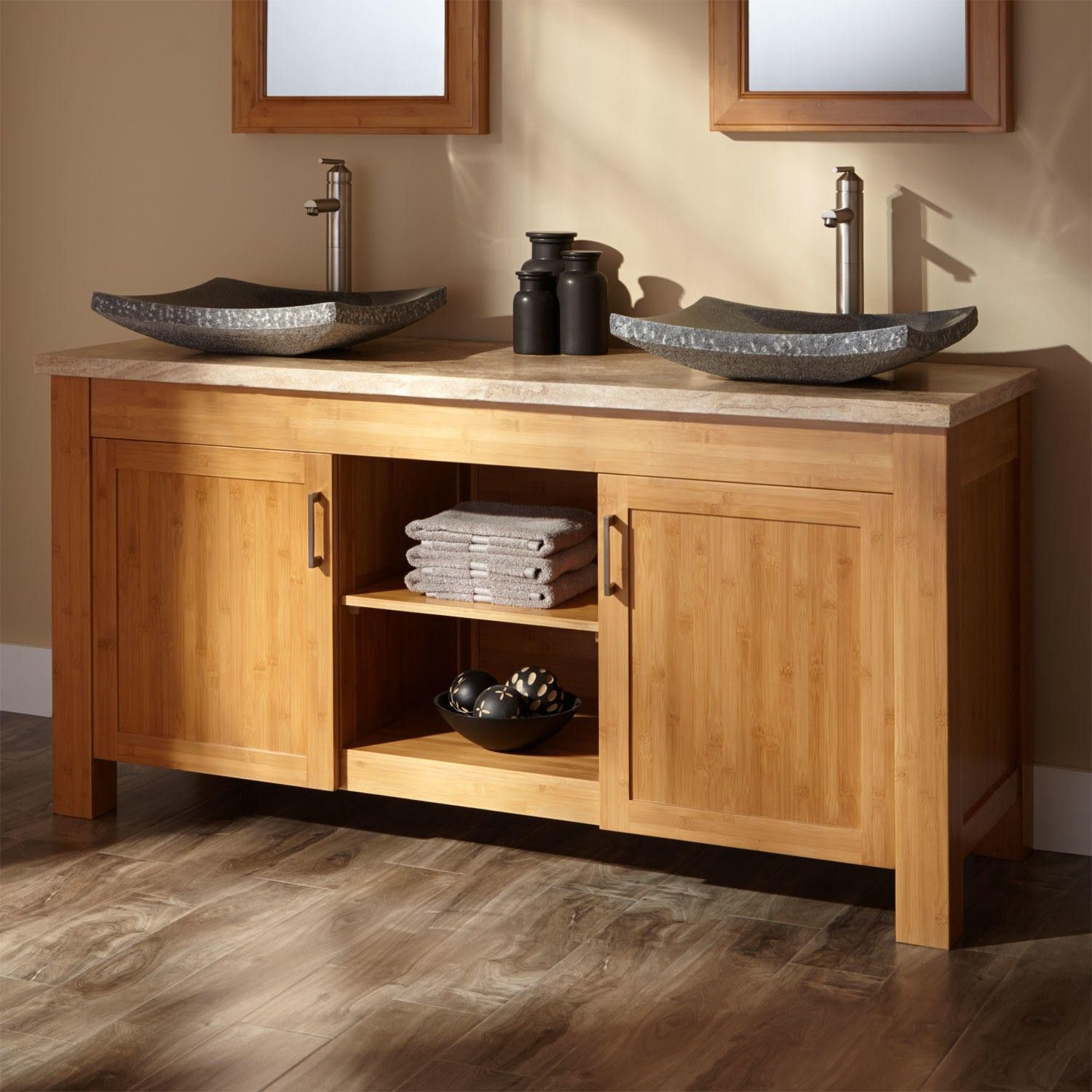 Art Exhibition  Thayer Bamboo Double Vanity for Semi Recessed Sinks Double vanity Ensuite bathrooms and Sinks