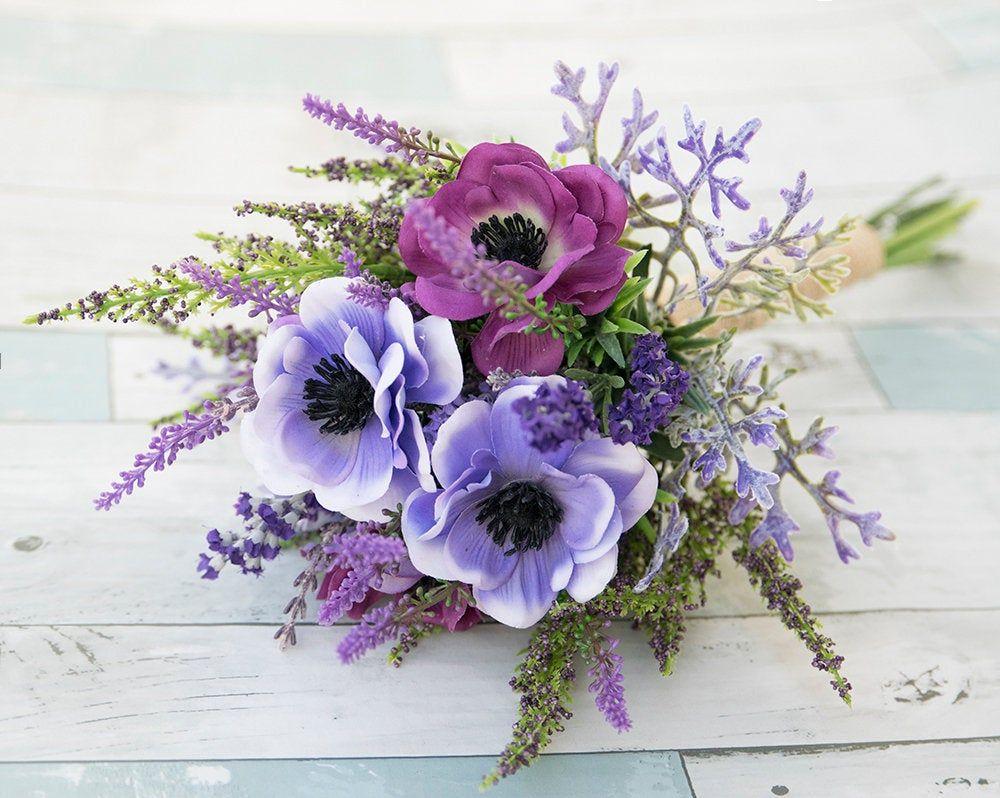 Purple bouquet lilac bouquet anemone wild flower
