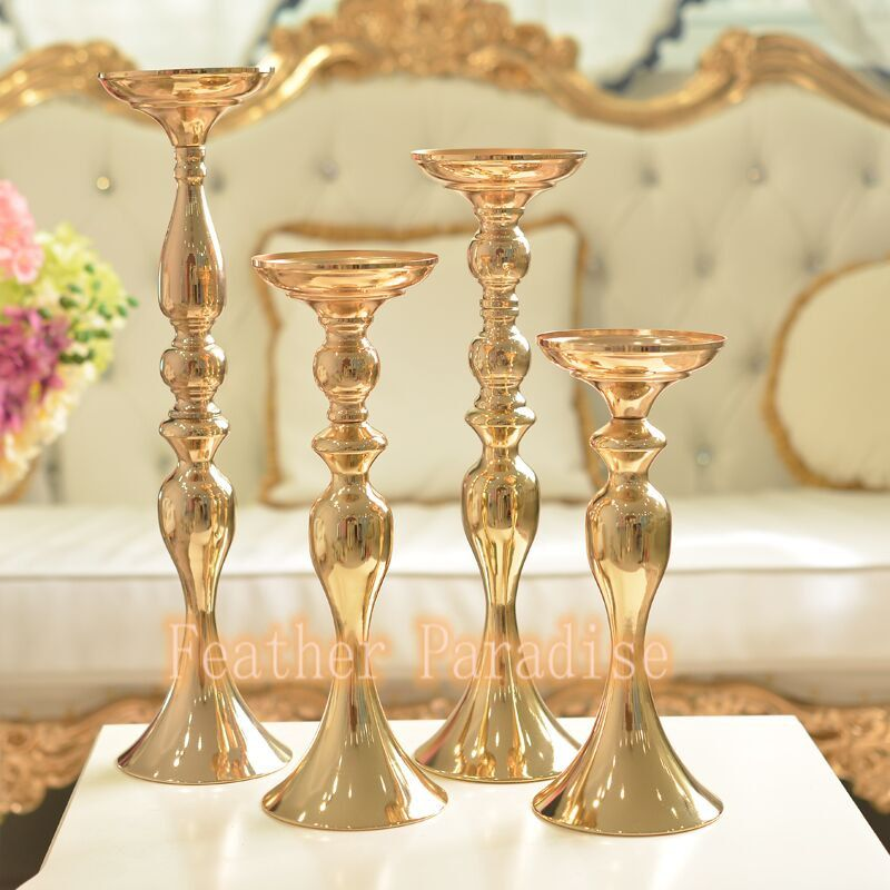 wedding floral stand pillar candle holder flower feather balls stand gold 20 inch 15 - Gold Candle Holders