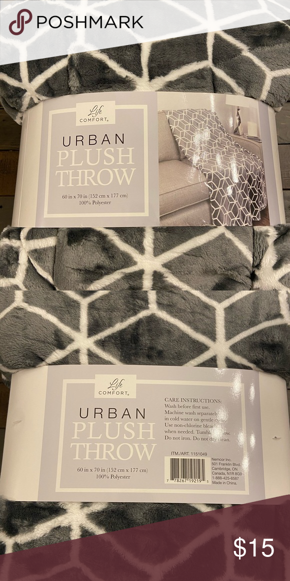 "Life Comfort Urban Plush Throw Blanket Super Soft 60/"" x 70/"""
