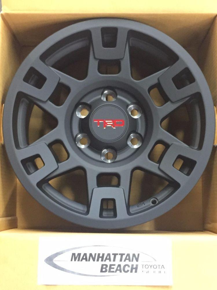 09741b86f6b Matte black with red TRD logo on center cap. 2007 thru 2015 FJ CRUISER.  2010 thru 2017 TOYOTA 4RUNNER. x 7-in. cast aluminum wheel with 6 lug nut  pattern. ...