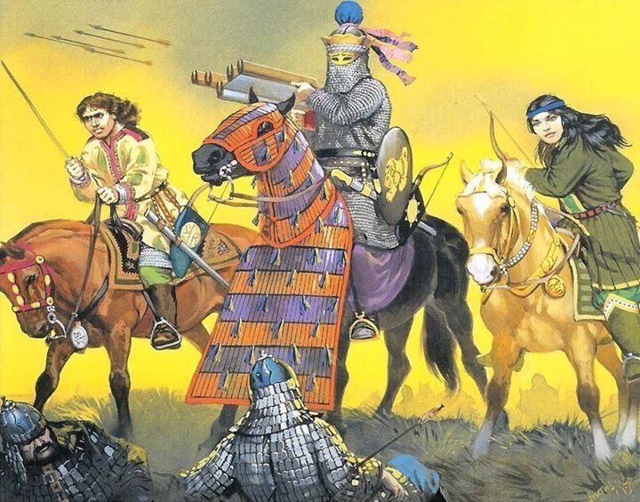 A Sassanid 'Savaran' Heavy cavalry charge.