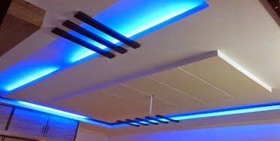 False Ceiling Pop Designs With LED Lighting Ideas For Living Room Part 1