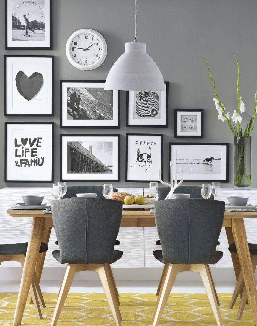 Modern black and white dining room - Grey Modern Dining Room With Black And White Pictures The Room Edit