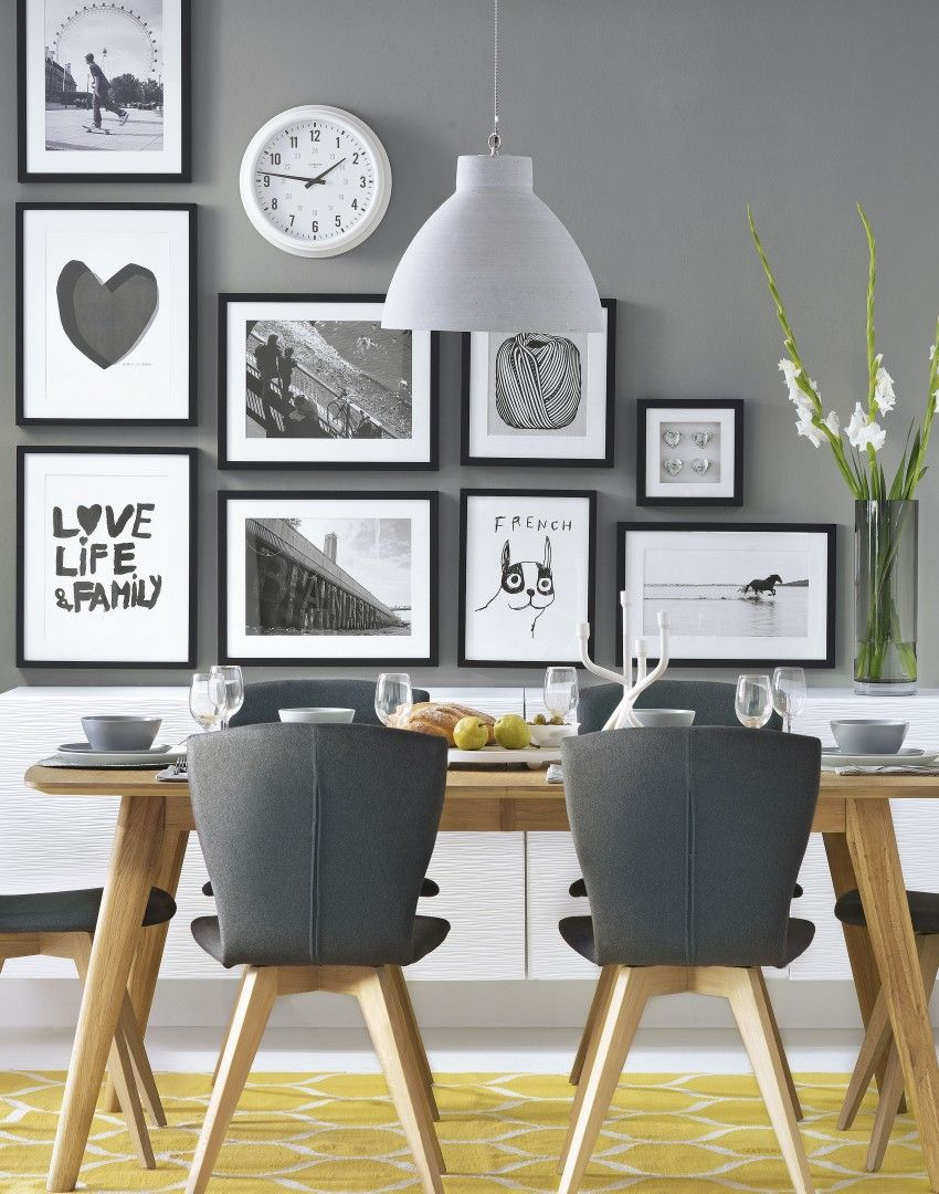 Grey Modern Dining Room With Black And White Pictures The Room Edit Dining Room Small Dining Room Walls Grey Dining Room