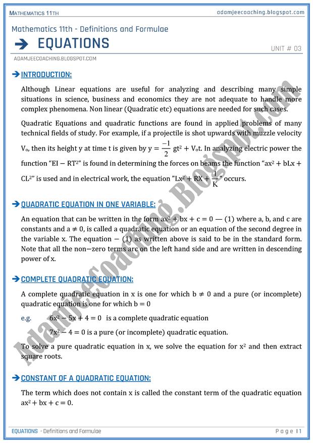 Equations Definitions And Formulae Mathematics 11th Mathematics