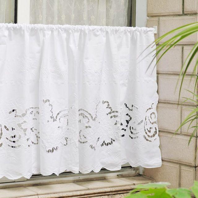 Livraison gratuite Pastorale belle main-sculpté vide café court rideau cuisine rideaux pour salon chambre beige 120*50 cm