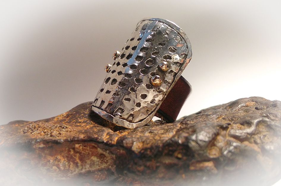 Penelope by 962 silver and leather ring Unique - handmade