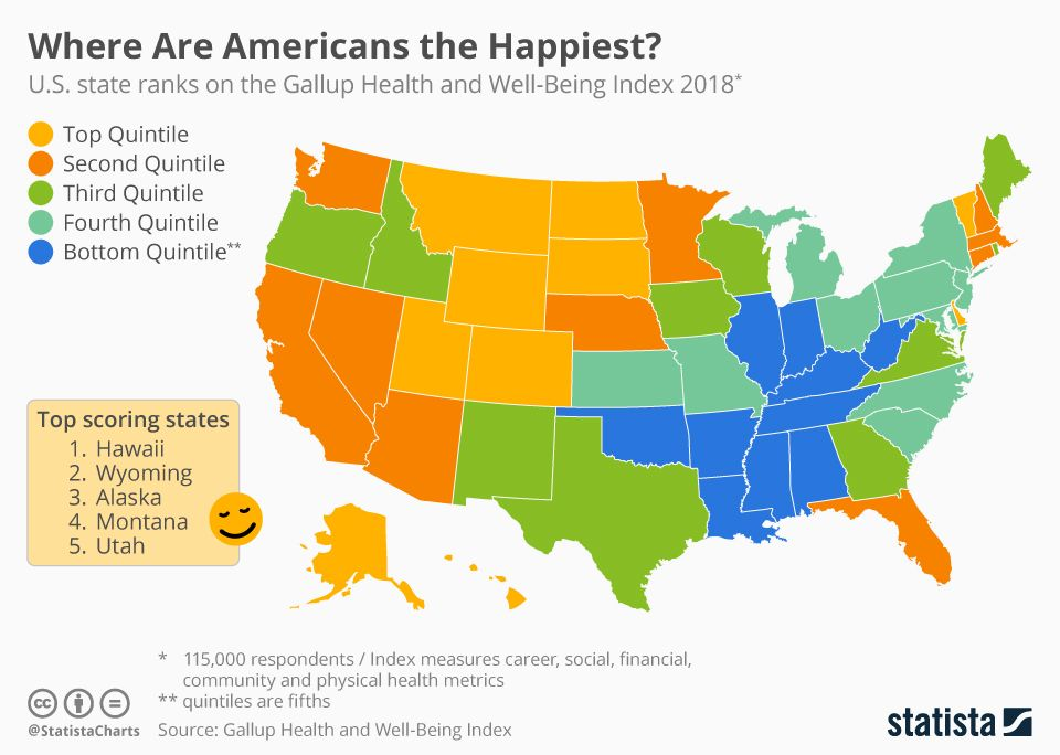 Where Are Americans The Happiest Vivid Maps Map History Geography Cartography Map