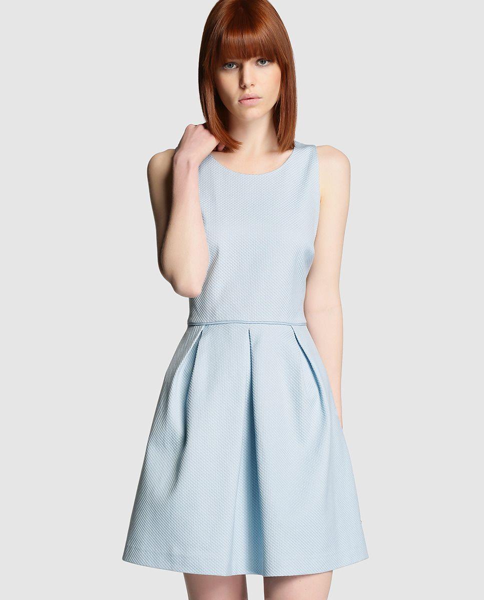 68a38a430 Vestido de mujer Tintoretto azul claro de piqué