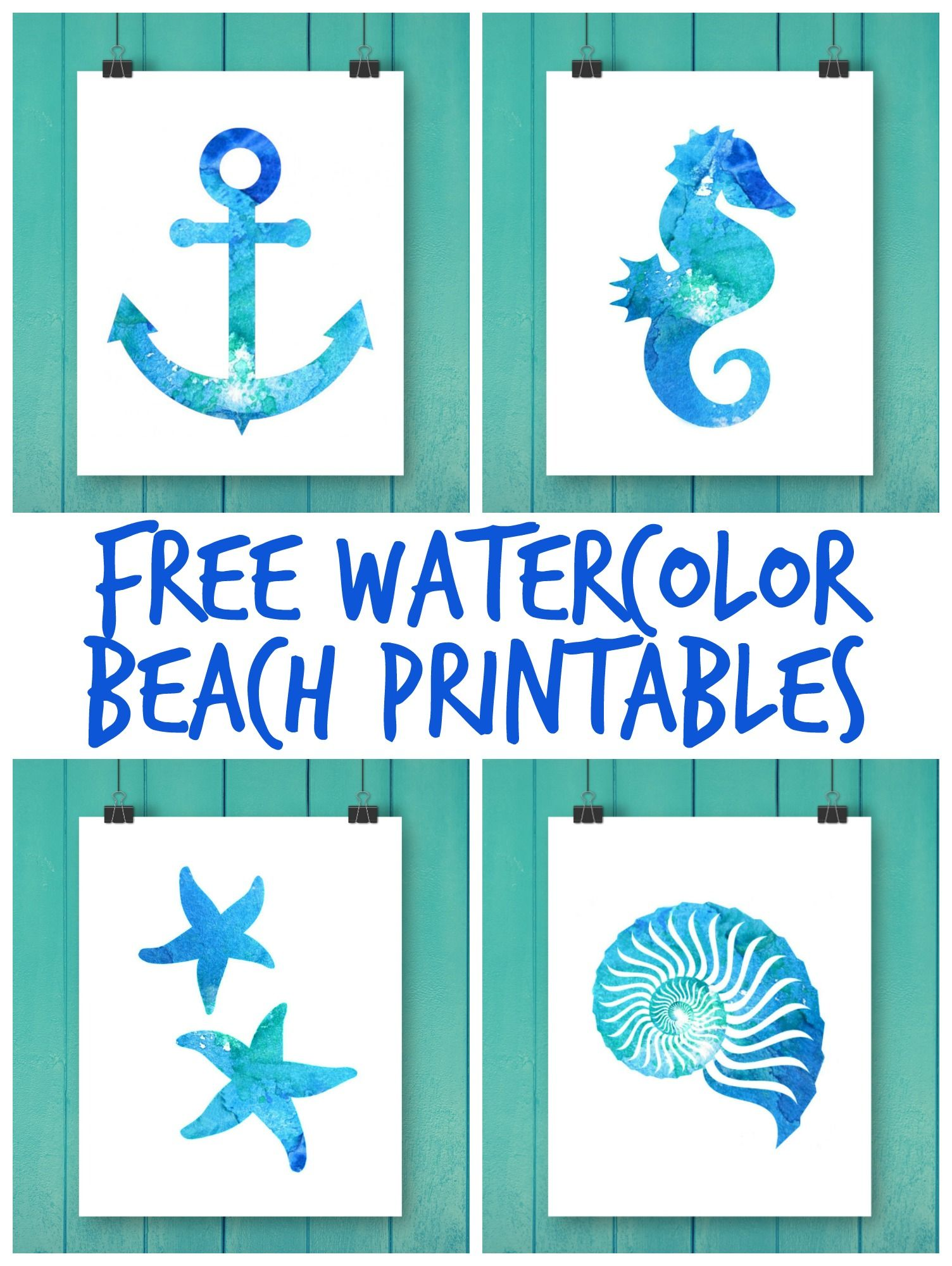 picture relating to Beach Printable titled Absolutely free Watercolor Seashore Printables Printable Artwork Seaside