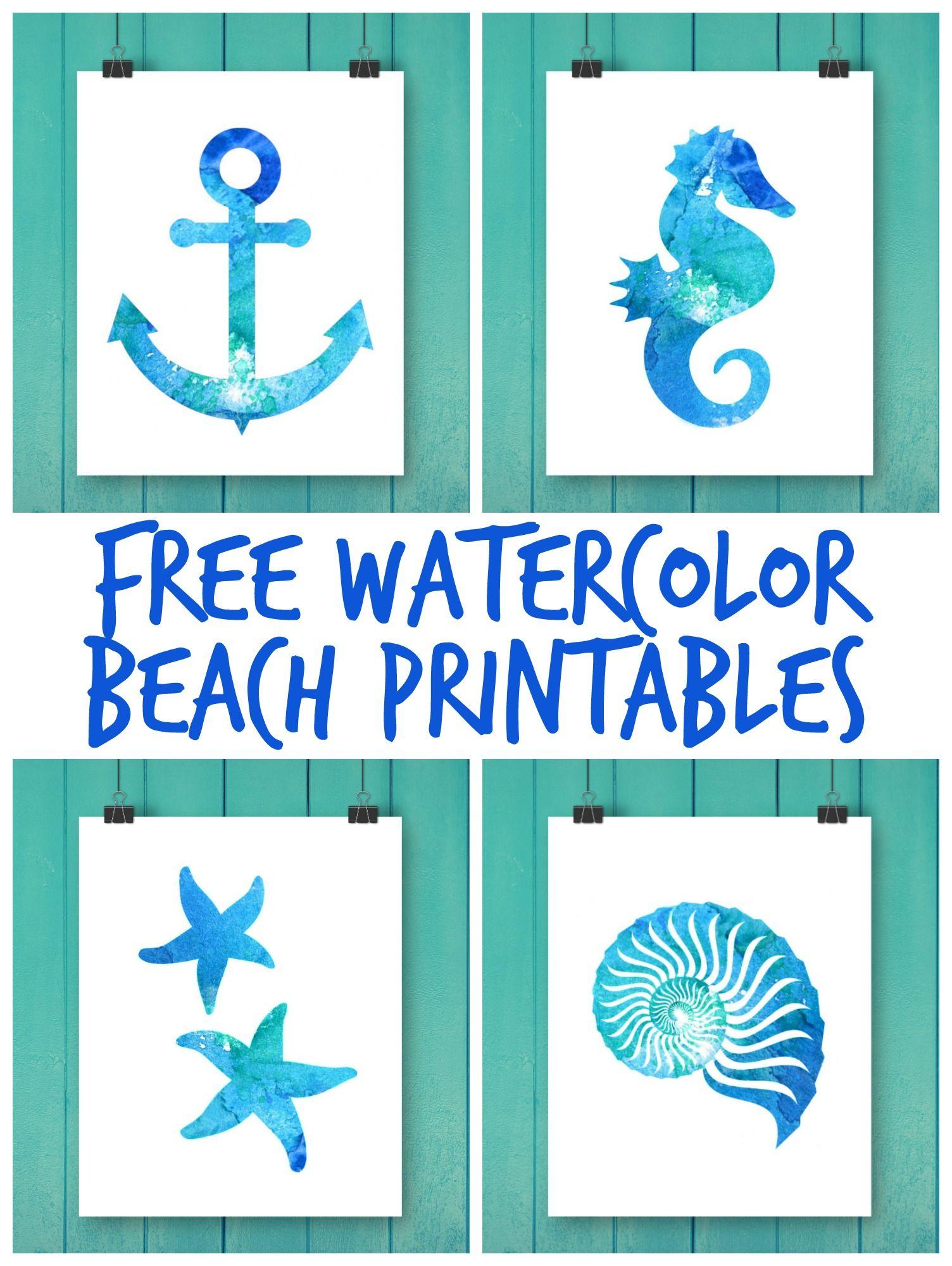 Free Watercolor Beach Printables Mermaid Wall Art Beach