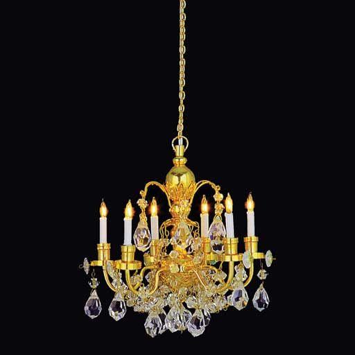 6 Arm Brass Grandeur Crystal Chandelier Dollhouse Chandelier Dollhouse Lighting Crystal Chandelier