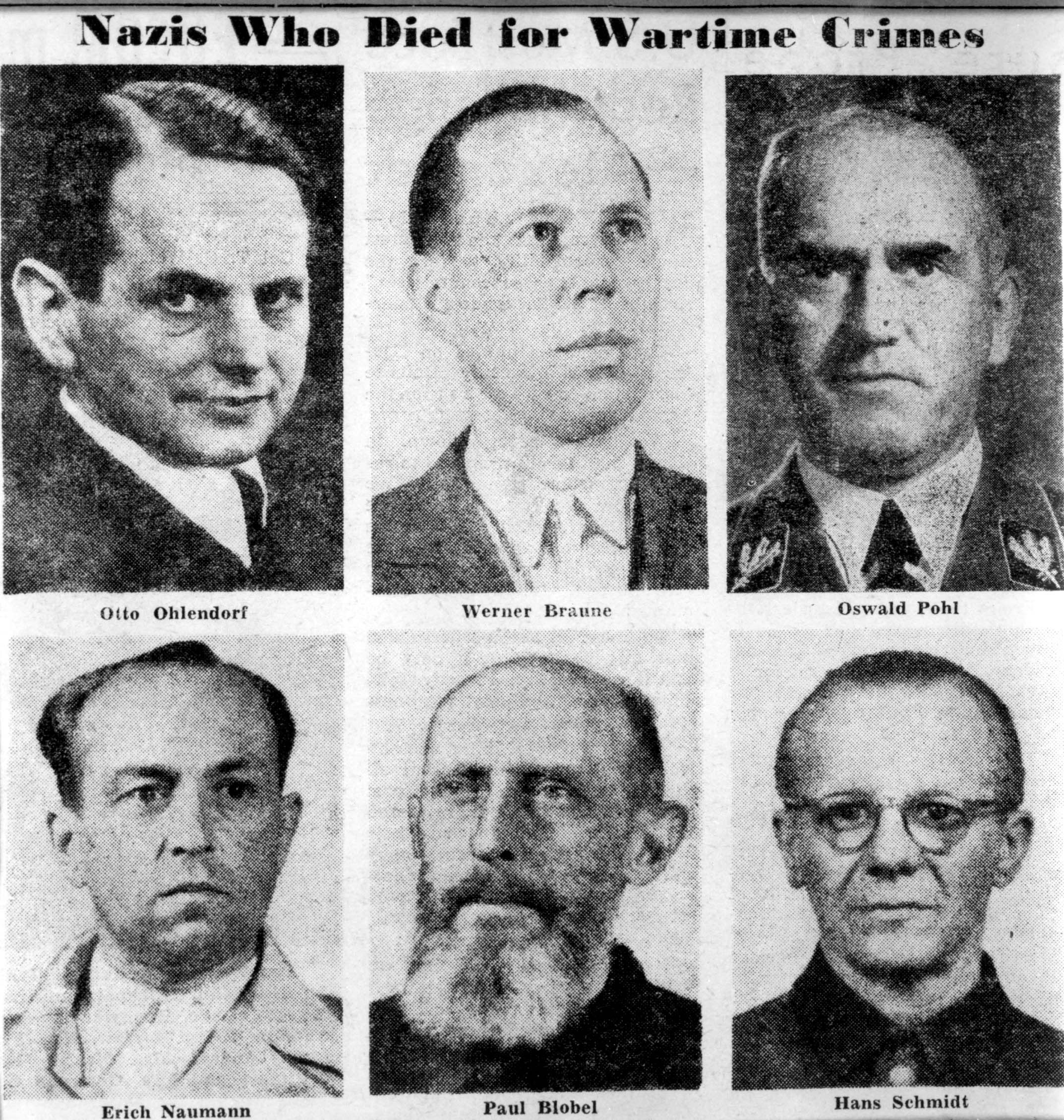 pictures of six german war criminals that were executed after the pictures of six german war criminals that were executed after the einsatzgruppen trial in landsberg