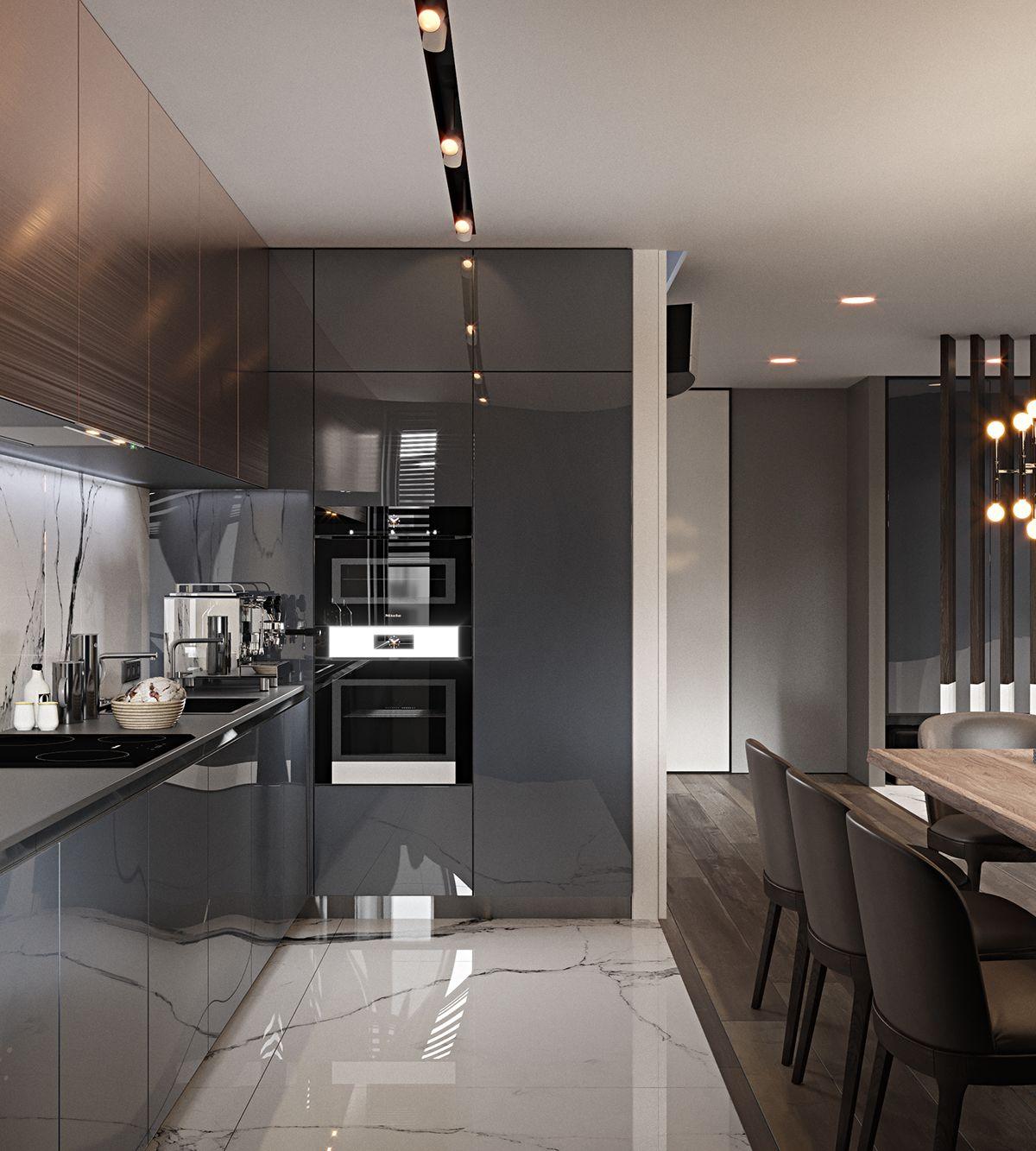 Best Flat 80M2 On Behance Элитные Кухни Интерьер Кухни 400 x 300