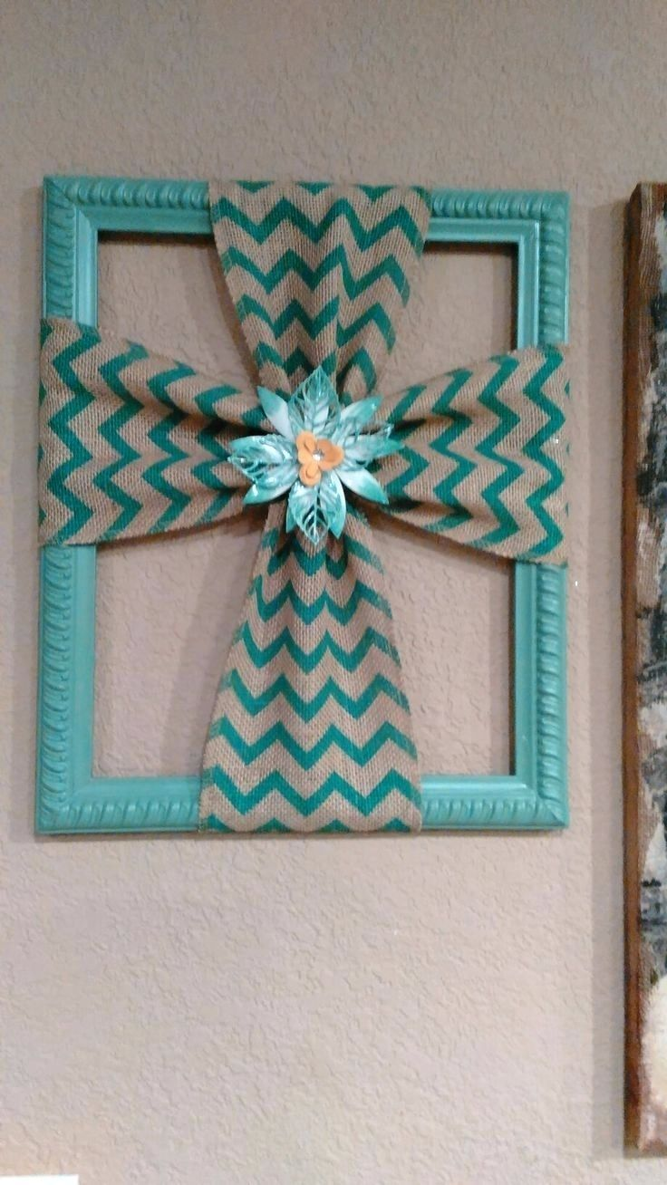 burlap cross made with a repurposed picture frame teal photo frames