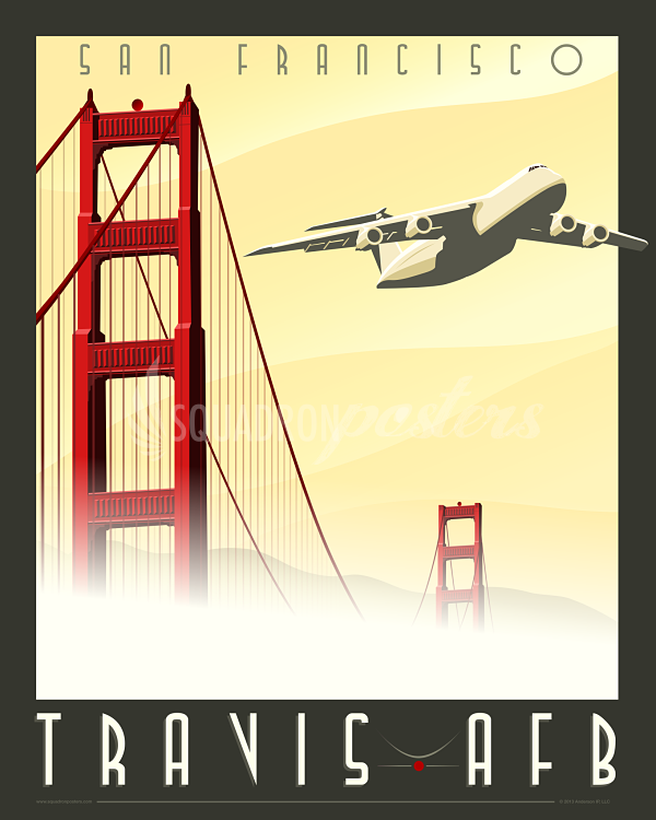 Travis AFB C5 Galaxy Aviation posters, Military poster