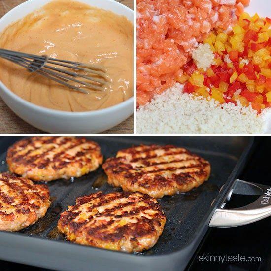 Salmon Cakes Recipe Paula Deen: Naked Salmon Burgers With Sriracha Mayo