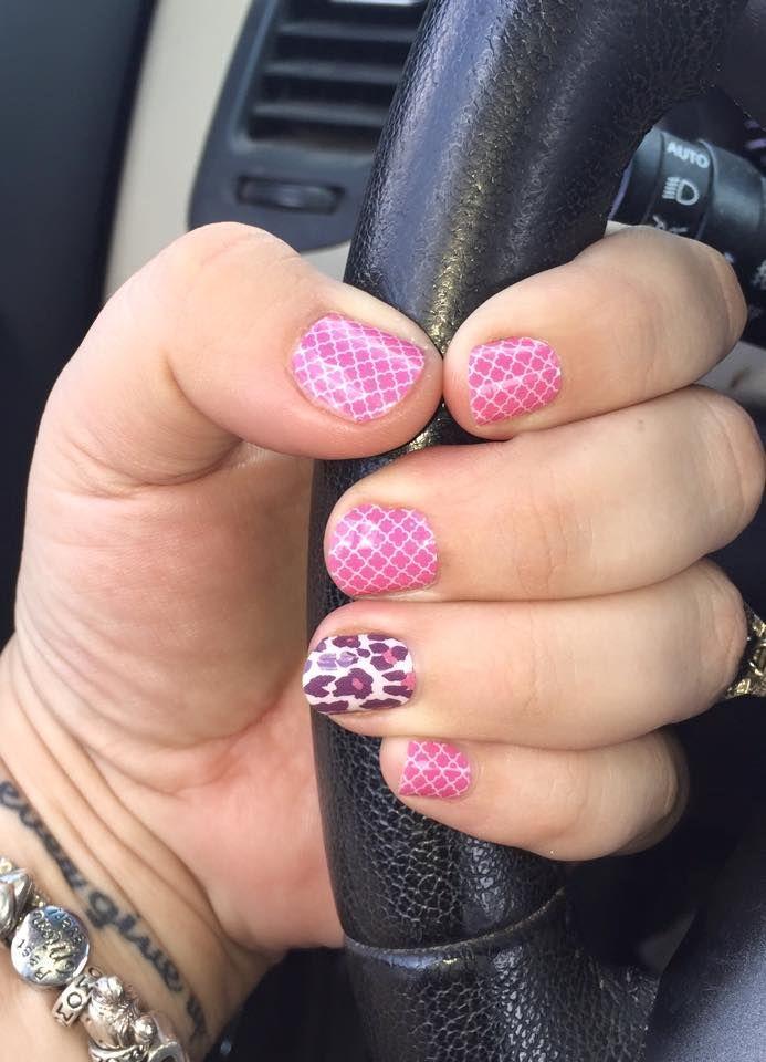 Rosy Quatrefoil and Flirty Leopard #jamberry #manicure #easy #nails #nailart #pink #purple #animalprint