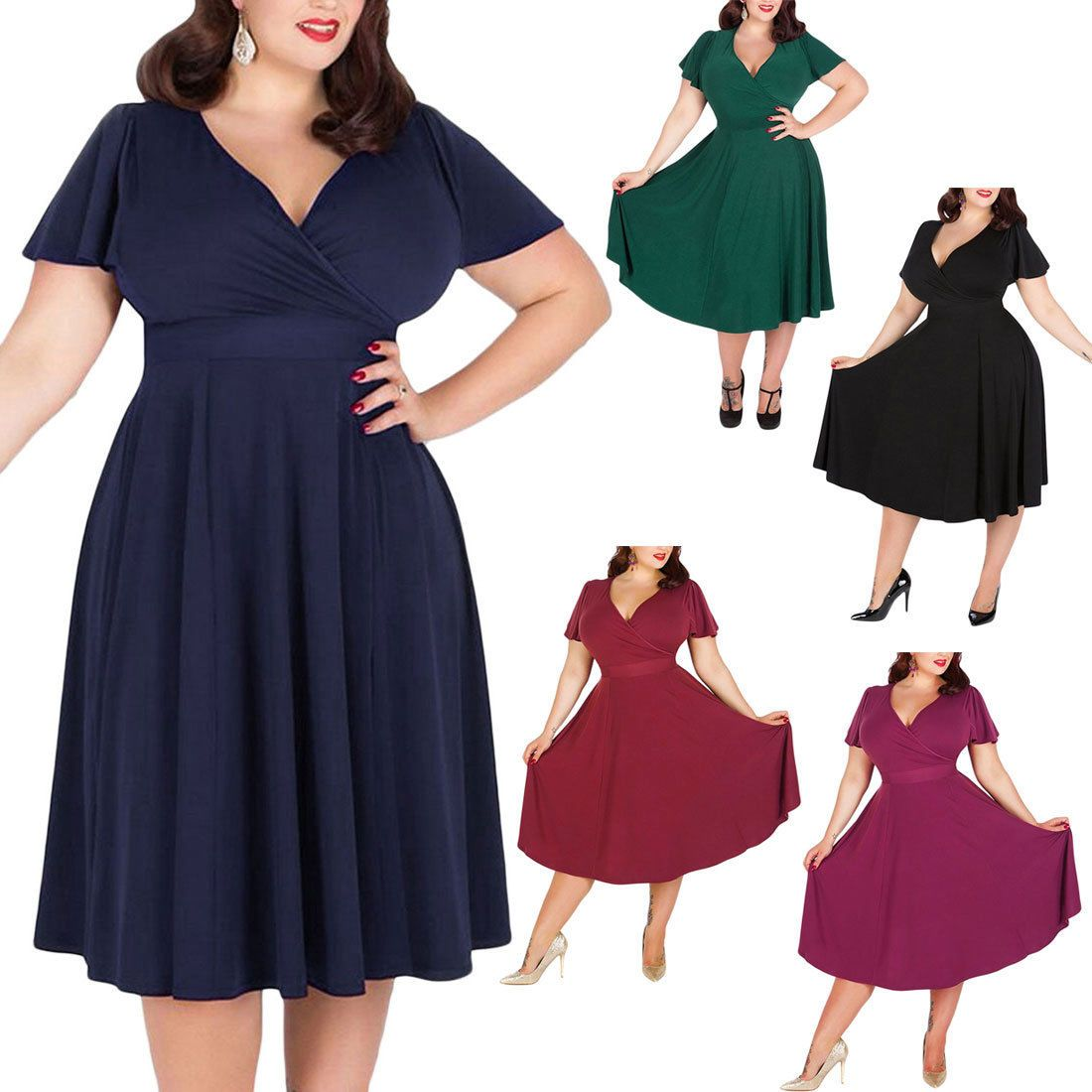 Women solid short sleeve vneck stretchy casual midi plus size