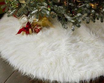 3 shaggy white mongolian round christmas tree skirt - White Christmas Tree Skirt