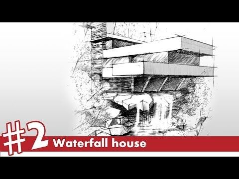 Waterfall House Perspective Drawing 2