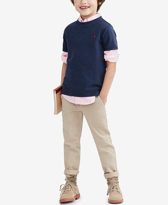 Ralph Lauren Little Boys' Blake Oxford Shirt, Crew-Neck T-Shirt & Suffield Pants - Toddler Boys (2T-5T) - Kids & Baby - Macy's