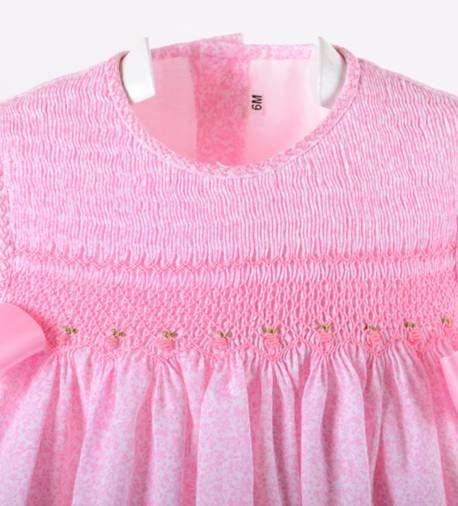 Faldón De Flores Rosas Bordado A Mano Punto Smock Ropa Bebe Niña Ropa Bebe Vestidos Para Niñas