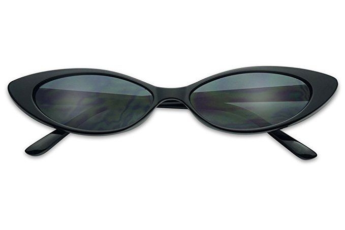 e87b20db6b Mini Vintage Retro Extra Narrow Oval Round Skinny Cat Eye Sun Glasses Clout  Goggles (Black Frame