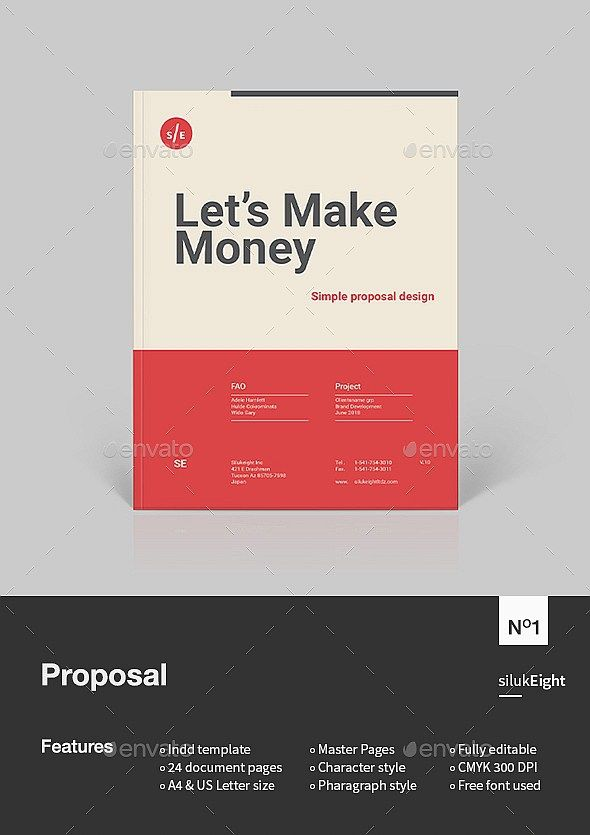 24 Pages Strong Typography Business Proposal Template Indesign