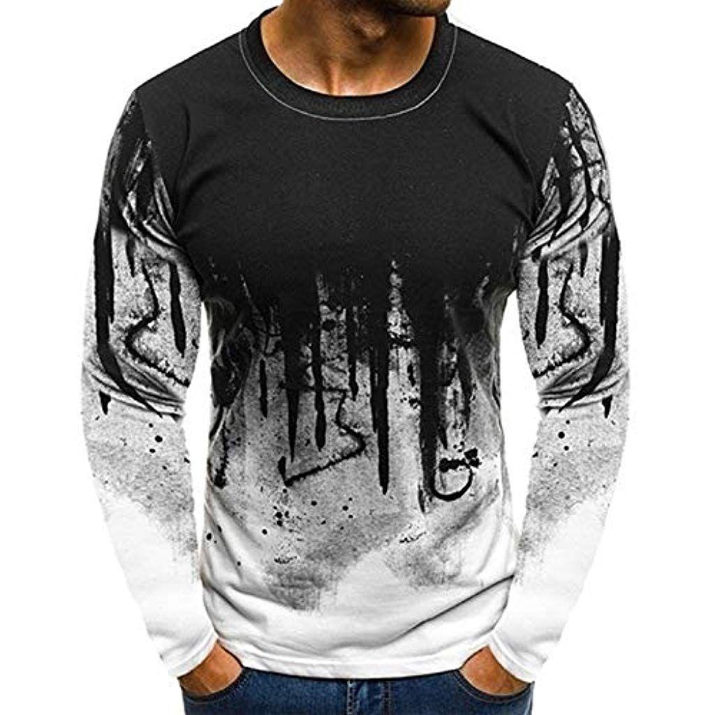 HFASHION Herren Langarmshirt Shirt Longsleeve T Shirt