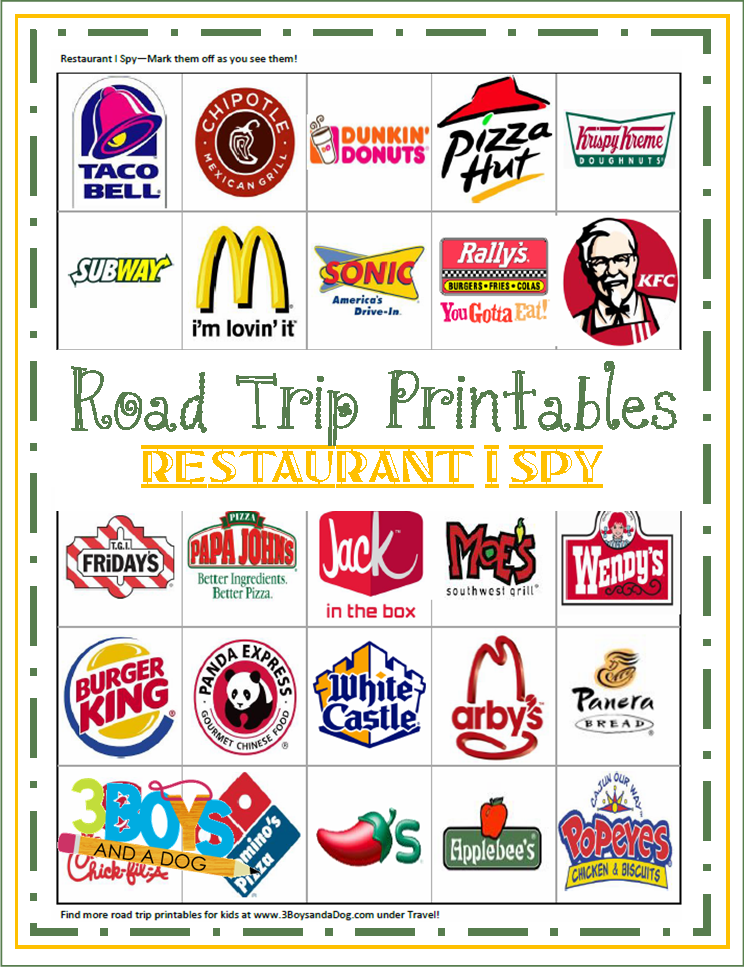 free road trip game printables - Free Printable Games For Kids