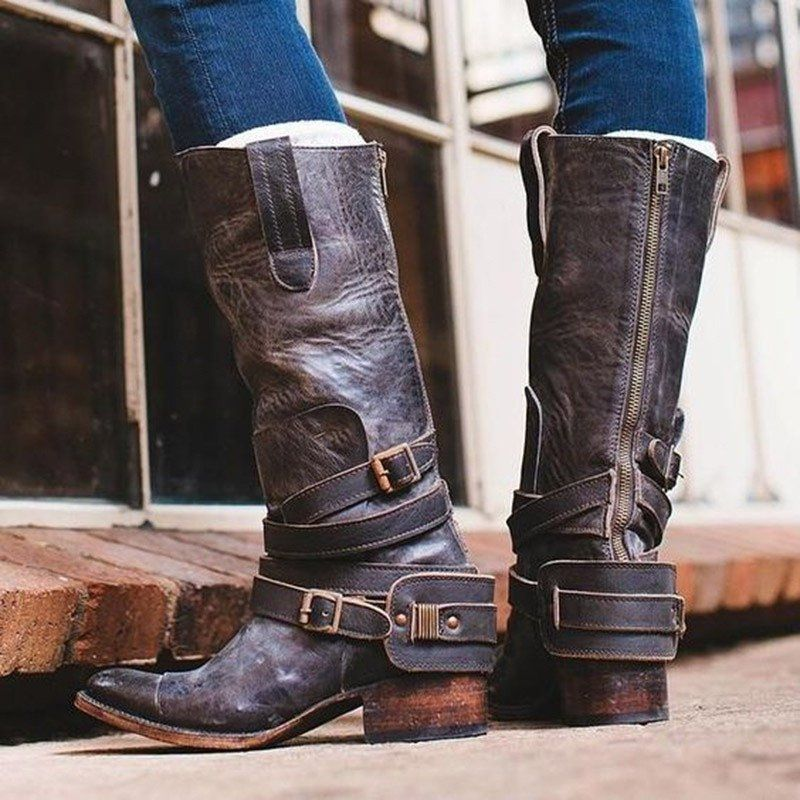 942e8cfe615ad Vintage Low Heels Zipper Boots Casual Ankle Strap Booties - JustFashionNow .com