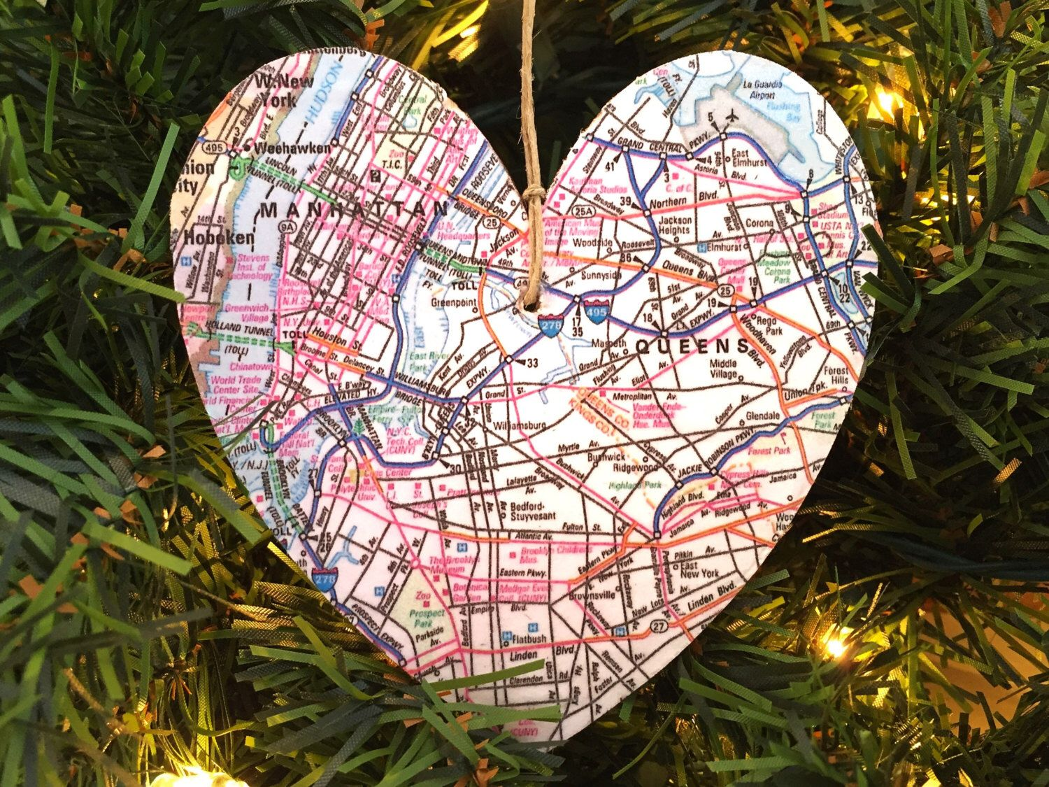 New York City Map Ornament, NYC Map Ornament, New York City ...