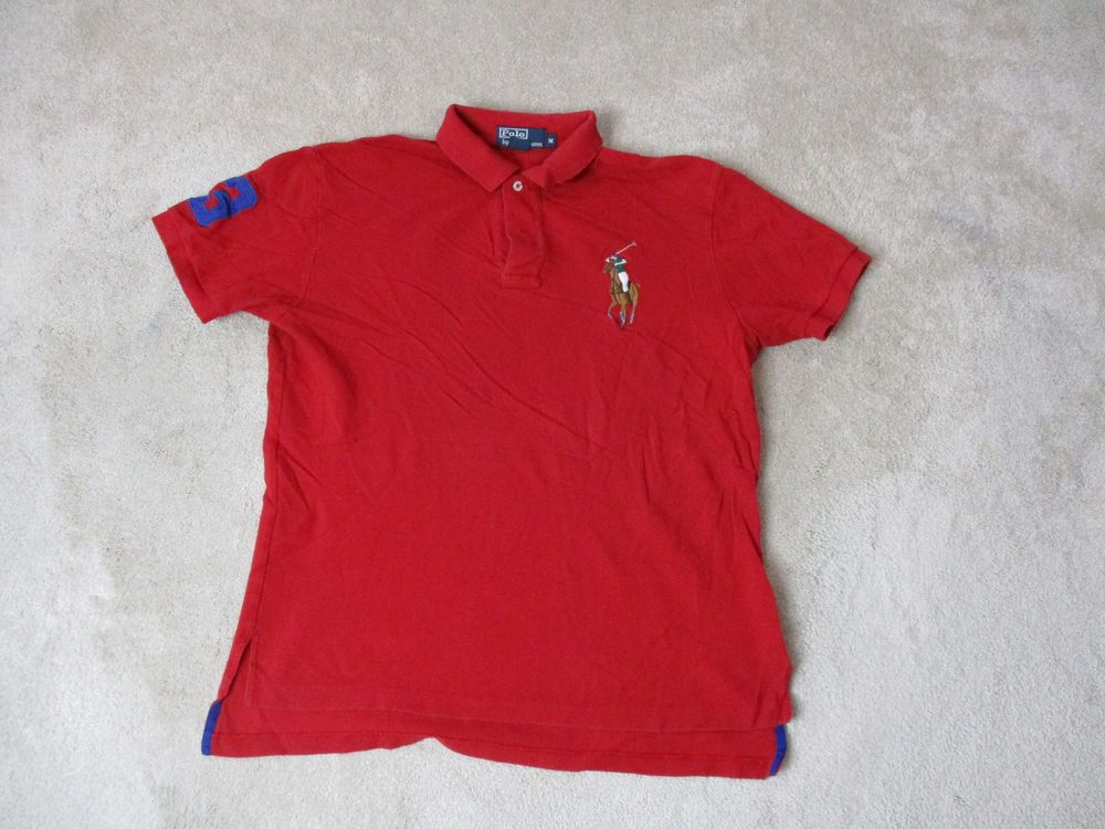 d073df3e1 VINTAGE Ralph Lauren Polo Shirt Adult Medium Red Brown Big Pony Rugby Mens  90s