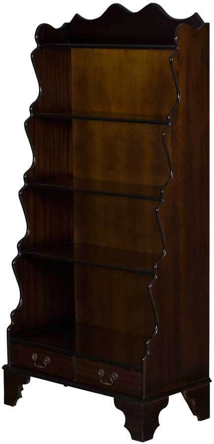 Vintage Antique Style Waterfall Bookcase Graduated Bookshelf Open W Drawers Waterfall Vintage Bookcase Antique Bookcase Antique Bookshelf