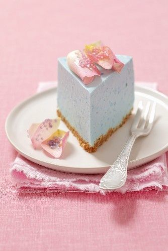 Blue Cheesecake with Rose Petals