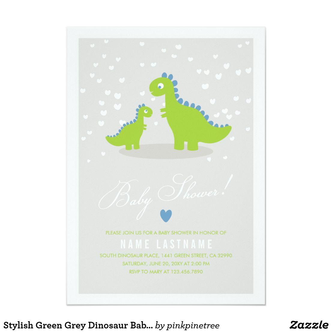 Stylish Green Grey Dinosaur Baby Shower Invitation Customize this ...