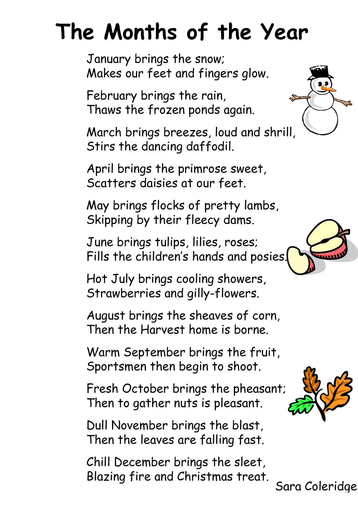 Monthly Calendar Rhyme : Poems for each month of the year on pinterest lyrics