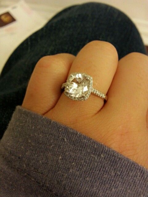 My custom engagement ring SO happy Its a 3 carat round cut