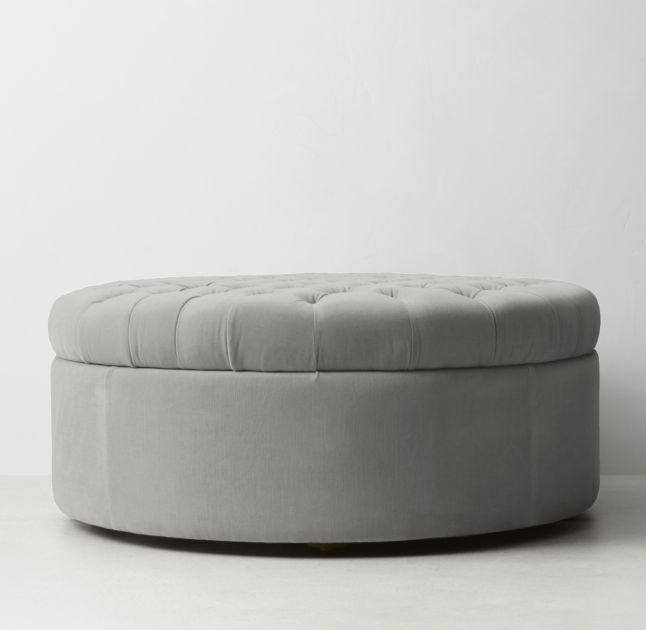 Tufted Large Round Velvet Storage Ottoman
